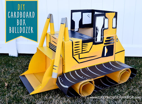 Diy cardboard box bulldozer grey house harbor for How to make a cardboard box car that moves